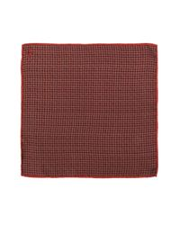 Canali Red Micro Check Pocket Square for men