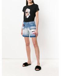 Azul aplicación de Shorts Karl con Lagerfeld parche vaqueros v1xCqX