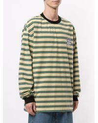 メンズ Pleasures ストライプ スウェットシャツ Green