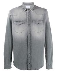 Camicia denim con effetto consumato di Dondup in Gray da Uomo