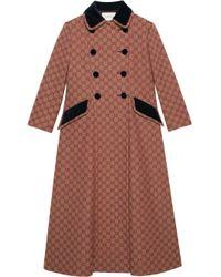 Abrigo con logo GG Gucci de color Brown