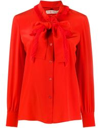 Camicia con fiocco di Tory Burch in Orange