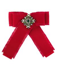 Gucci Red Grosgrain bow brooch