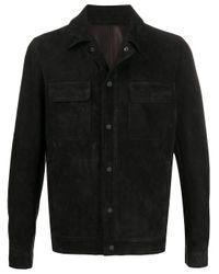 Veste boutonnée en cuir Salvatore Santoro pour homme en coloris Black