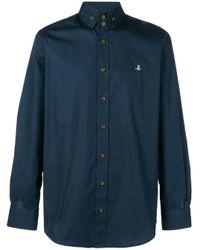 Vivienne Westwood Blue Embroidered Logo Shirt for men