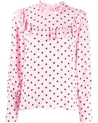 RED Valentino Pink Ruffled Polka Dot Blouse
