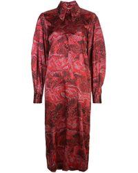 Vestido camisero con efecto jaspeado Ganni de color Red