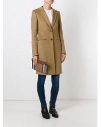 Burberry Brown Peyton Leather Check Crossbody Bag
