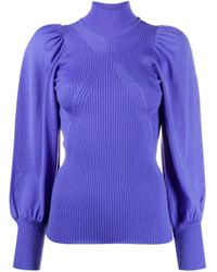 Alberta Ferretti Blue High Neck Wool Jumper