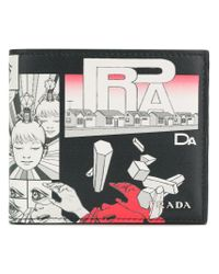Prada Black Comic Print Wallet for men