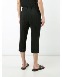 Homme Plissé Issey Miyake Black Ribbed Cropped Trousers