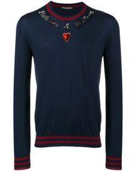 Dolce & Gabbana Blue Round Neck Sweater for men