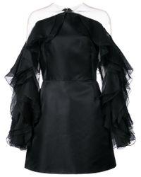 Marchesa Black Ruffle-sleeve Fitted Dress