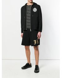 John Richmond - Black Logo Side Stripe Shorts for Men - Lyst