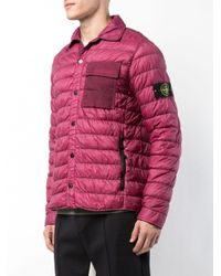 Stone Island Pink Contrast-pocket Padded Jacket for men