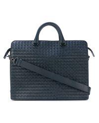 Bottega Veneta Blue Dark Navy Intrecciato Briefcase for men