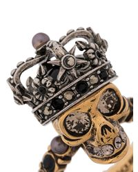 Кольцо King Skull Alexander McQueen, цвет: Metallic