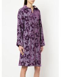 Comme des Garçons Purple Jacquard Patterned Dress