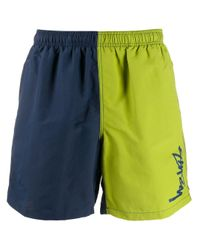 Stussy Blue Two-tone Logo Print Track Shorts for men