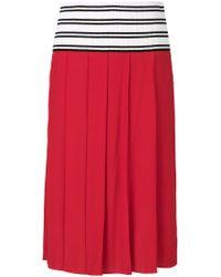 Marni Red Knitted Web Band Midi Skirt