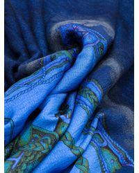 Avant Toi Vierkante Sjaal Met Print in het Blue
