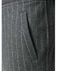 メンズ Brunello Cucinelli ストライプ トラックパンツ Gray