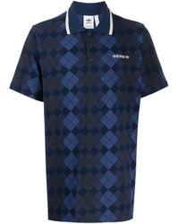メンズ Adidas Originals アーガイル ポロシャツ Blue