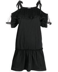 Vestido corto con panel de tul RED Valentino de color Black