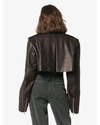 Veste crop Eduarda en cuir Khaite en coloris Black