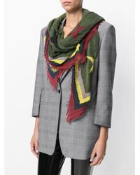 Zadig & Voltaire Green Star And Stripe Print Scarf