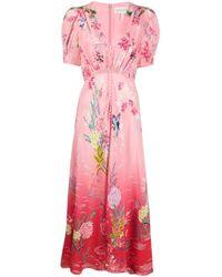 Vestito lungo a fiori di Saloni in Pink