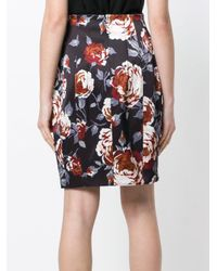 Theory Floral-print Satin Pencil Skirt Black