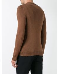 Maison Margiela Brown Loose Knit Detail Sweater for men