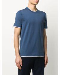 メンズ Brunello Cucinelli レイヤード Tシャツ Blue