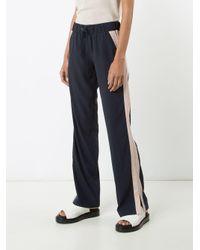 Anine Bing Black Striped Trim Drawstring Track Pants
