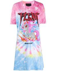 Платье-футболка С Принтом Тай-дай Philipp Plein, цвет: Pink