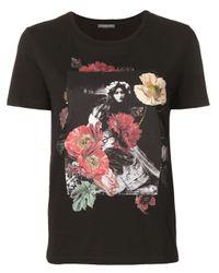 Camiseta con estampado floral Alexander McQueen de color Black
