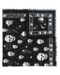 Alexander McQueen - Black Skull Patterned Scarf for Men - Lyst