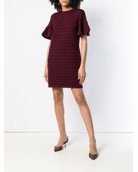 Victoria, Victoria Beckham - Flared Ruffle Sleeve Wool Ottoman Knit Dress - Lyst
