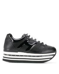 Hogan Black Striped Platform Sneakers