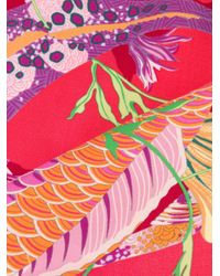 Shanghai Tang Pacific プリント スカーフ Pink