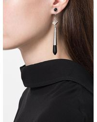 Jil Sander - Black Embellished Drop Earrings - Lyst