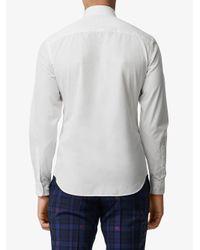 Camisa slim de popelina Burberry de hombre de color White