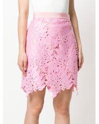 MSGM Pink Leaf Patch Mini Skirt