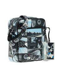 Prada Blue Printed Messenger Bag for men