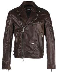 DSquared² Brown Leather Biker Jacket for men