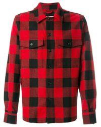 AMI Black Check Buttoned Overshirt for men