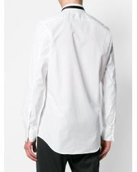 Neil Barrett White Contrast Trim Collar Shirt for men