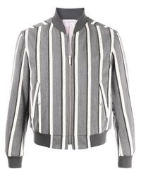Veste bomber crop à rayures Thom Browne pour homme en coloris Gray