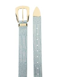 Cintura goffrata con effetto coccodrillo di B-Low The Belt in Blue